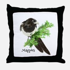 Curious watercolor Magpie Bird Nature Art Throw Pi