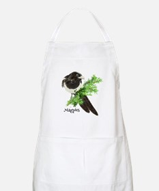 Curious watercolor Magpie Bird Nature Art Apron