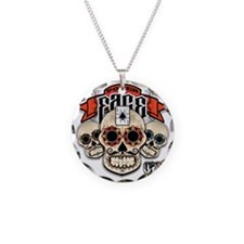 Cheststache Poker Face T-Shi Necklace Circle Charm