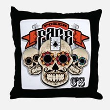 Cheststache Poker Face T-Shirt Throw Pillow