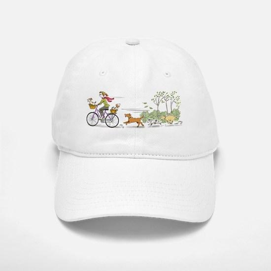 Bike Riding Girl and Dogs Baseball Baseball Cap