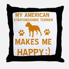 American Staffordshire Terrier design Throw Pillow