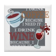 I Drink Coffee Wine Tile Coaster