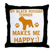 Black Russian Terrier dog designs Throw Pillow