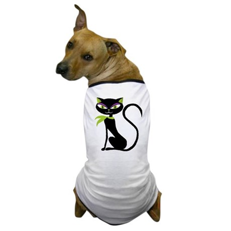 Black Retro Kitty Dog T-Shirt