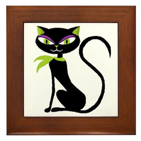 Black Retro Kitty Framed Tile
