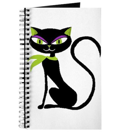 Black Retro Kitty Journal