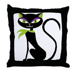 Black Retro Kitty Throw Pillow