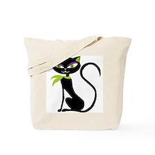 Black Retro Kitty Tote Bag