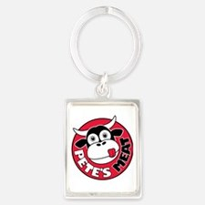Petes Meat white text Portrait Keychain