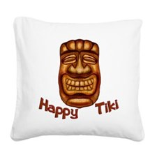 Happy Tiki Square Canvas Pillow