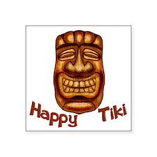 "Happy Tiki Square Sticker 3"" x 3"""