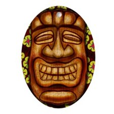Happy Tiki Print Oval Ornament