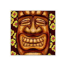 "Happy Tiki Print Square Sticker 3"" x 3"""