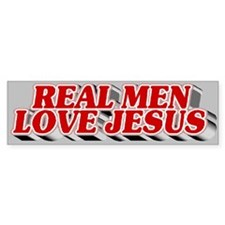 Real Men Love Jesus Bumper Car Sticker