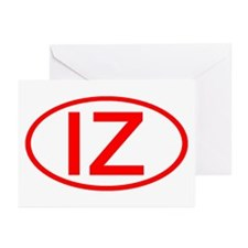 IZ Oval (Red) Greeting Cards (Pk of 10)