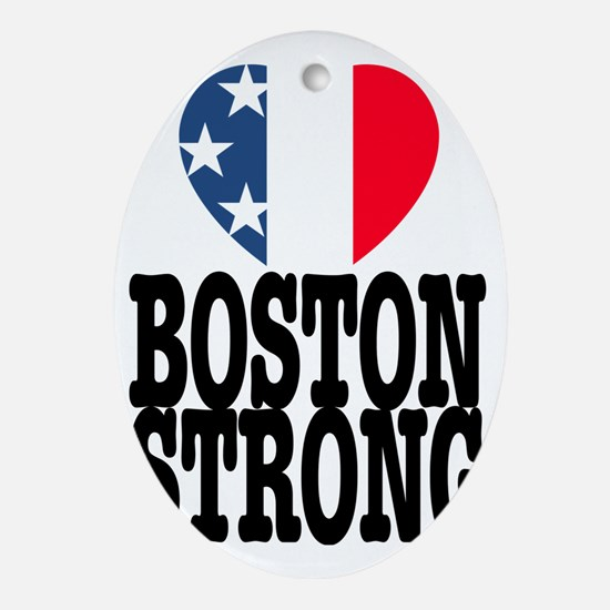 Boston Strong USA Heart Oval Ornament