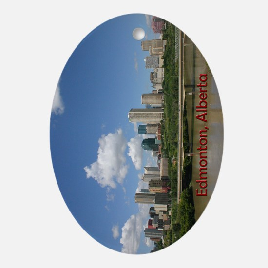 Edmonton Skyline and Bridge on a Sun Oval Ornament