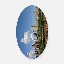 Edmonton Skyline and Bridge on a S Oval Car Magnet