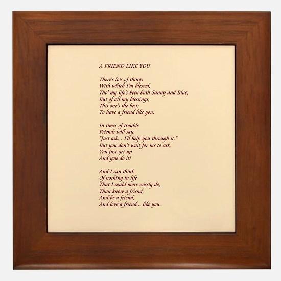 A Friend Like You Framed Tile