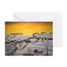 Amish Horse and Buggy Landscape Folk Greeting Card