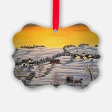 Amish Horse and Buggy Landscape F Ornament