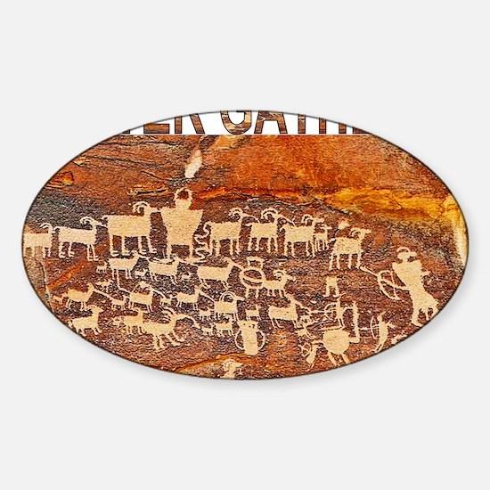 Hunter Gatherer Primitive Rock Art Sticker (Oval)