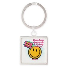 lol smiley Square Keychain
