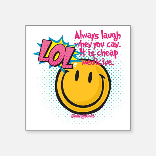 "lol smiley Square Sticker 3"" x 3"""