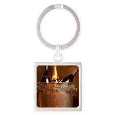 Bucket of Champagne Square Keychain