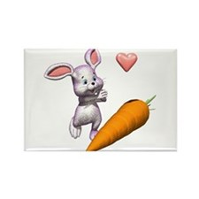 Cute Easter Bunny with Carrot Rectangle Magnet