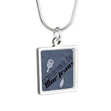 round_coaster Silver Square Necklace