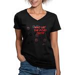 Dog Paws Women's V-Neck Dark T-Shirt