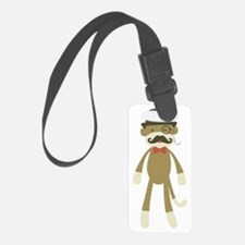 Sock monkey with Mustache and To Luggage Tag