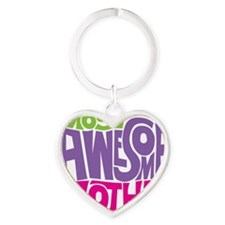 MOST AWESOME MOM Heart Keychain
