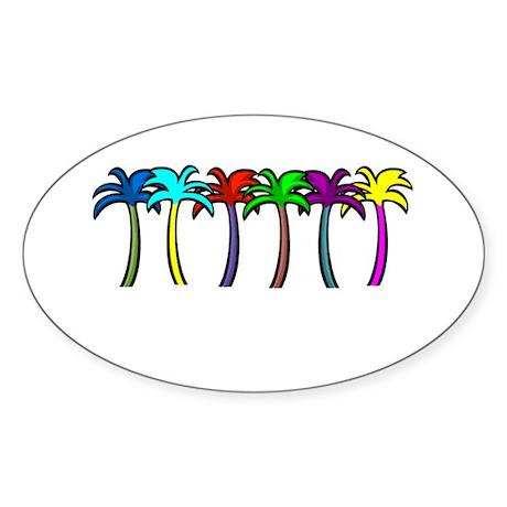 Palm Trees Oval Sticker