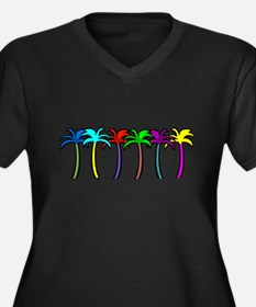 Palm Trees Women's Plus Size V-Neck Dark T-Shirt