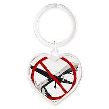 No Drones 2 Heart Keychain
