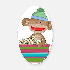 Sock monkey with popcorn Oval Car Magnet