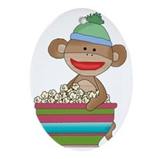 Sock monkey with popcorn Oval Ornament