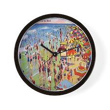 Vintage People on Beach Postcard Shower Wall Clock