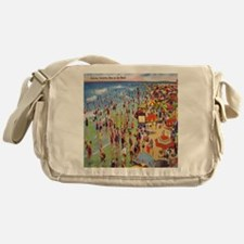 Vintage People on Beach Postcard Sho Messenger Bag