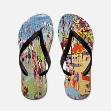 Vintage People on Beach Postcard Shower Flip Flops