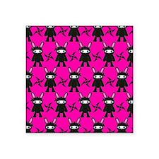 "Pink Black Ninja Bunny Square Sticker 3"" x 3"""