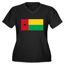 Guinea Bissau Flag T Shirts Women's Plus Size V-Ne