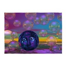 Compassion, Abstract Violet Goddess 5'x7'Area Rug