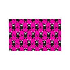 Pink Black Ninja Bunny 3'x5' Area Rug