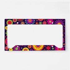 Hippie Purple Rainbow Flowers License Plate Holder