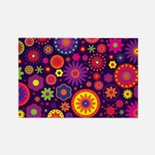 Hippie Purple Rainbow Flowers Rectangle Magnet