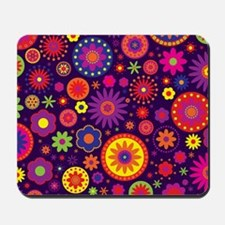 Hippie Purple Rainbow Flowers Mousepad